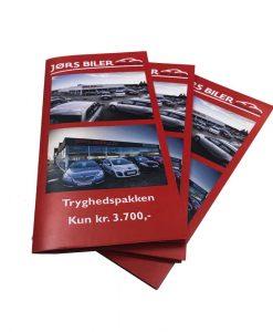 Tryk af folder til bilhandler Jørs Biler