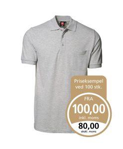 Klassisk ID Polo-shirt Nr 0520 med brystlomme, Klassisk poloshirt grå melange